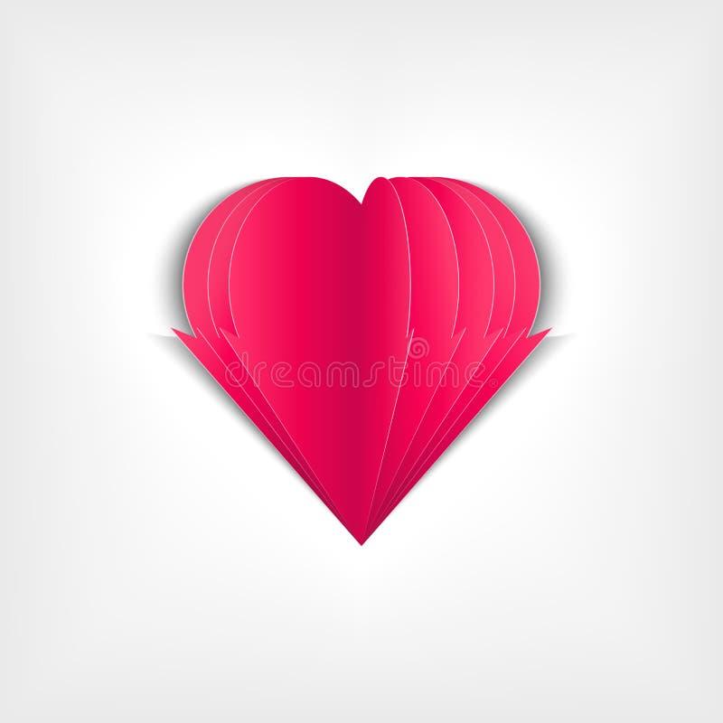 Coração de papel bonito para o dia do ` s do Valentim ilustração royalty free