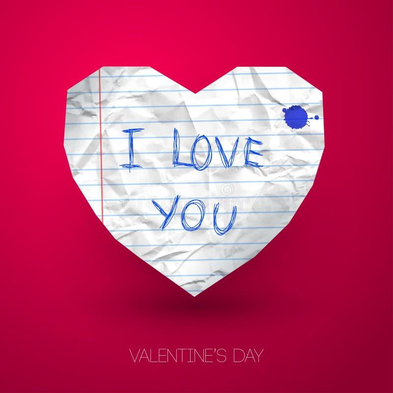Coração de papel com mensagem escrita à mão no rosa ilustração stock