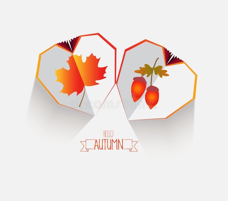 Coração de papel criativo Fundo feliz das folhas de outono ilustração stock