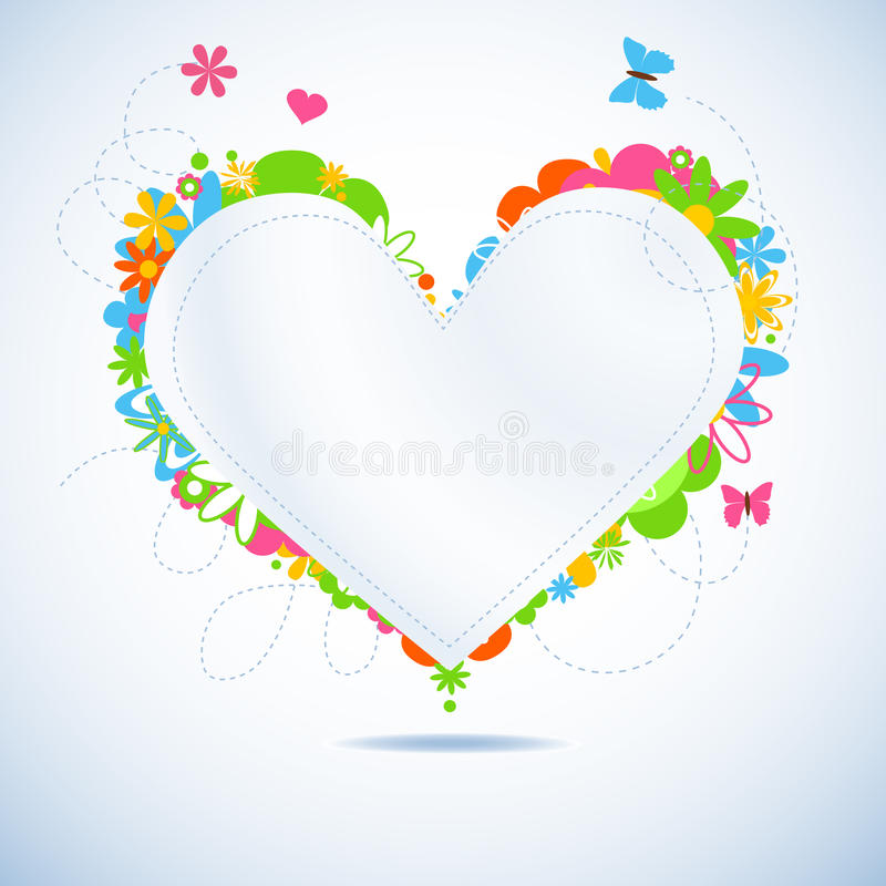Coração de papel floral colorido ilustração royalty free