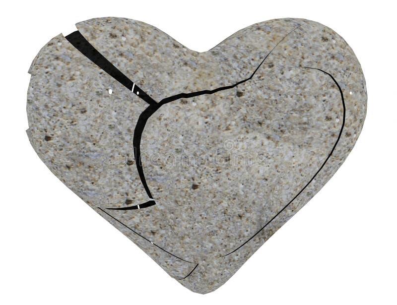 Coração de pedra quebrado isolado - rendição 3d ilustração royalty free