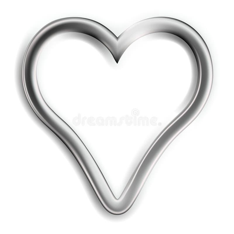 Coração de prata ilustração do vetor