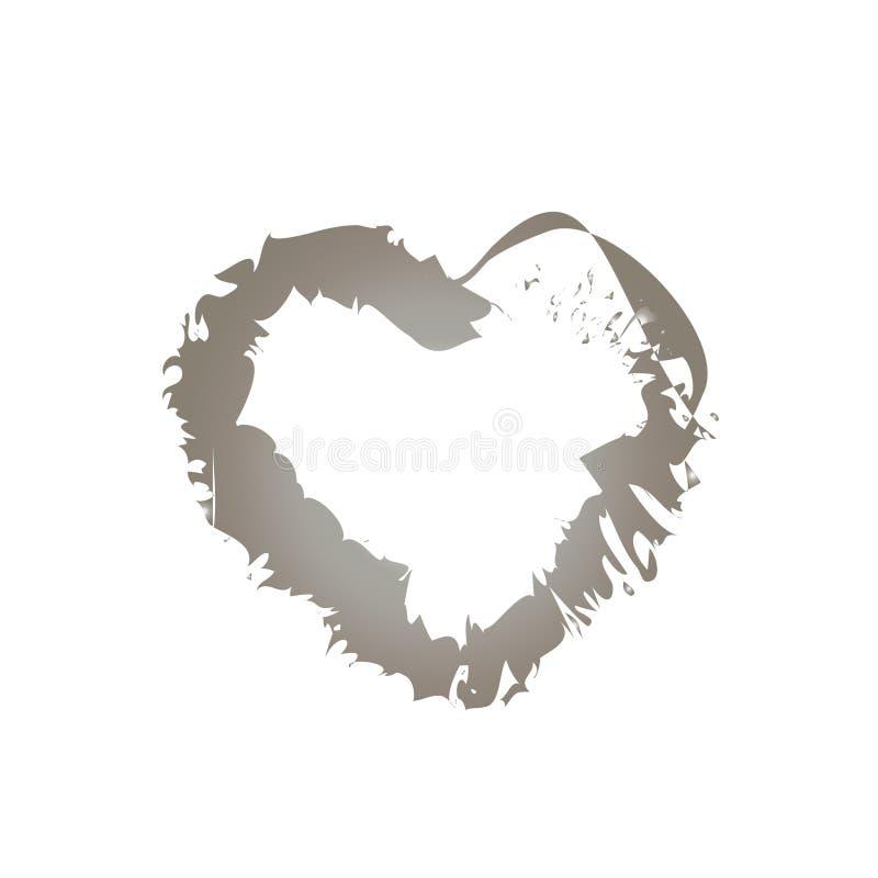 coração de prata em um modelo ocasional com faíscas e gotas ilustração stock