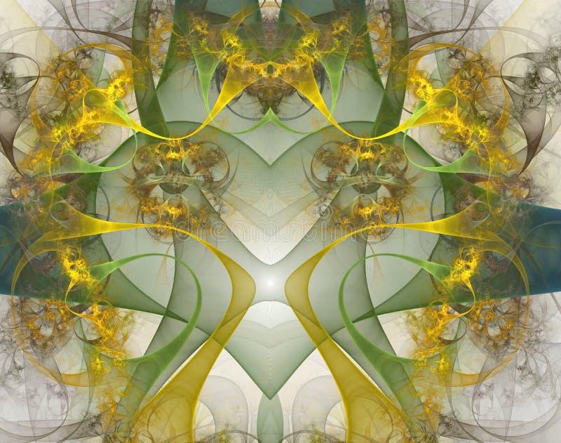 Coração de queimadura e batendo Valentine& laçado x27; motriz do dia de s, coração do fractal, arte digital ilustração royalty free