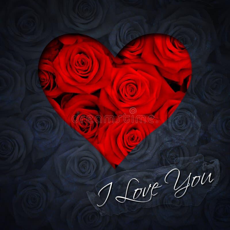 Coração de rosas vermelhas imagens de stock