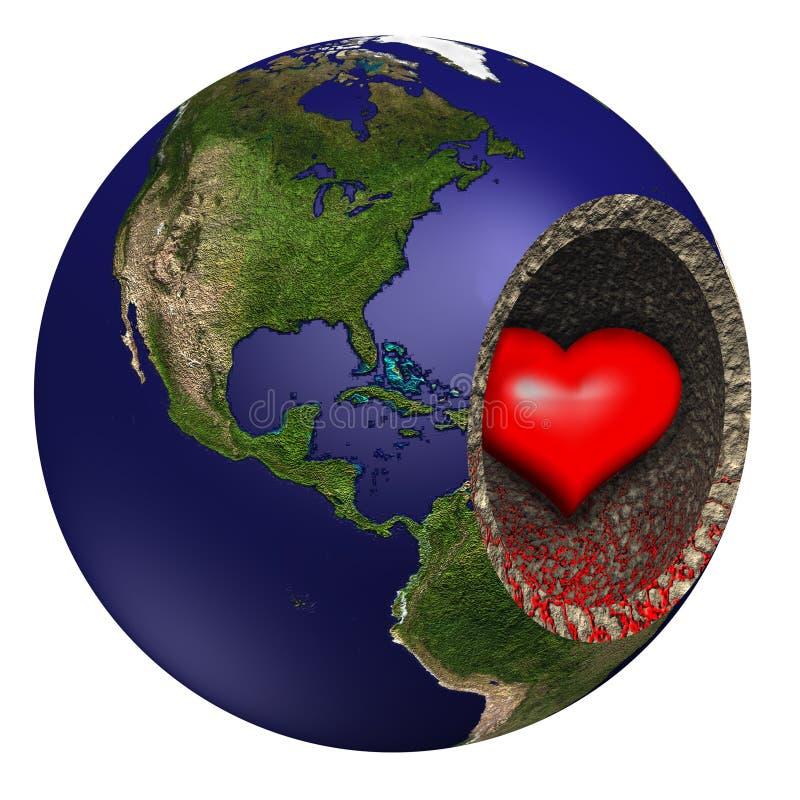 Coração de sangramento da terra de matriz ilustração royalty free