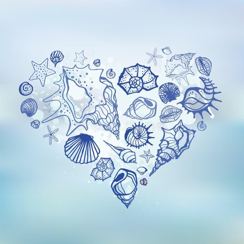 Coração de shell do mar.  Férias de verão. ilustração royalty free