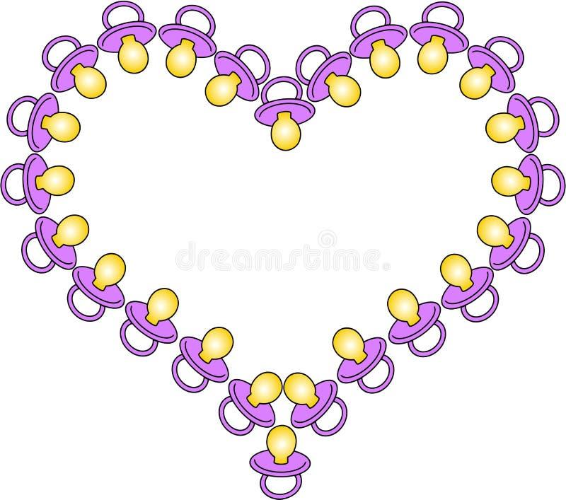 Coração de soothers cor-de-rosa do bebê ilustração do vetor
