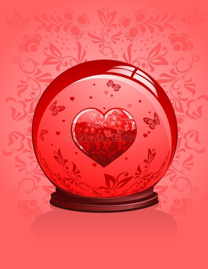 Coração de vidro com ornamento vermelhos em uma esfera de cristal ilustração do vetor