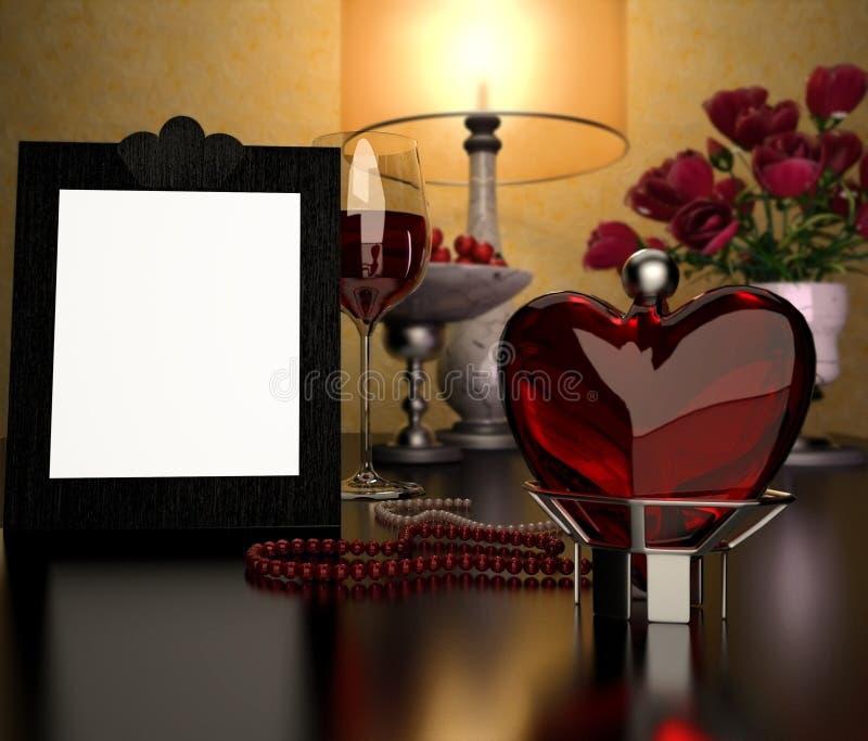 Coração de vidro, quadro e um vidro do vinho fotografia de stock