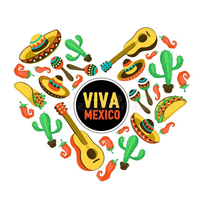 Coração de Viva México ilustração stock