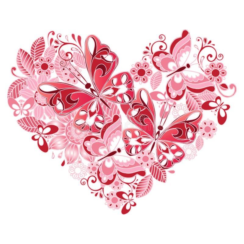 Coração decorativo das borboletas e das flores ilustração do vetor