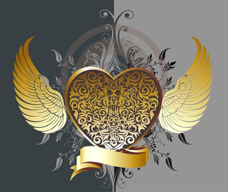 Coração decorativo do ouro com asas ilustração stock