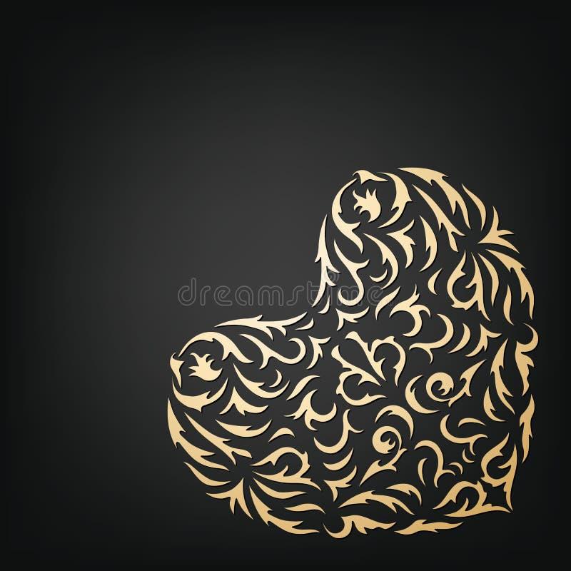 Coração decorativo dourado ilustração do vetor