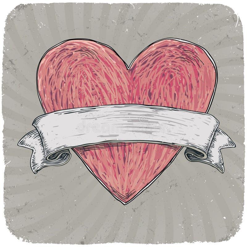 Coração denominado retro do tatuagem com fita. ilustração do vetor