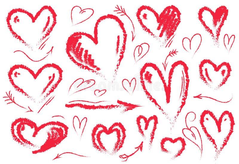 Coração desenhado mão Símbolo do amor Grupo do vetor de corações e de setas tirados mão Cor vermelha ilustração stock