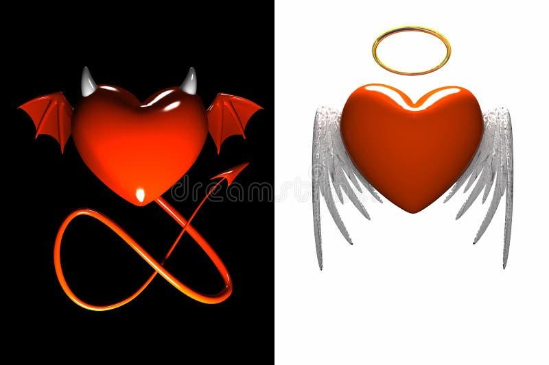 Coração-diabo vermelho e coração-anjo vermelho com as asas isoladas ilustração do vetor
