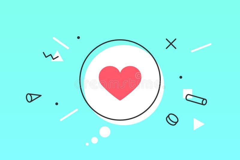 Coração do ícone, bolha do discurso Como o ícone com coração ilustração stock