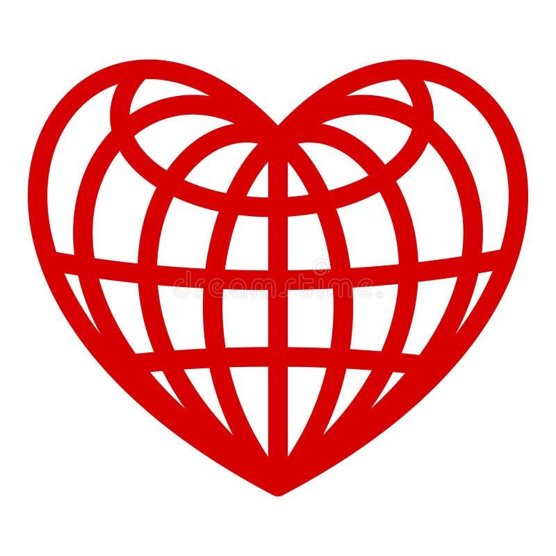Coração do ícone do globo, estilo simples ilustração stock