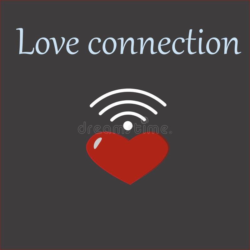 Coração do amor com conexão do wifi foto de stock