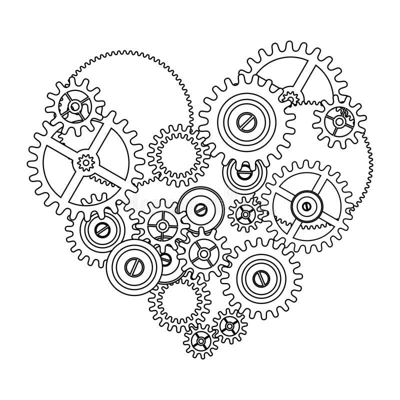 Coração do amor da engrenagem ilustração royalty free