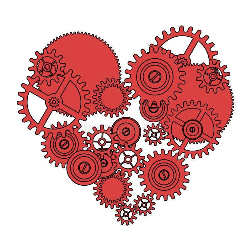Coração do amor da engrenagem ilustração stock