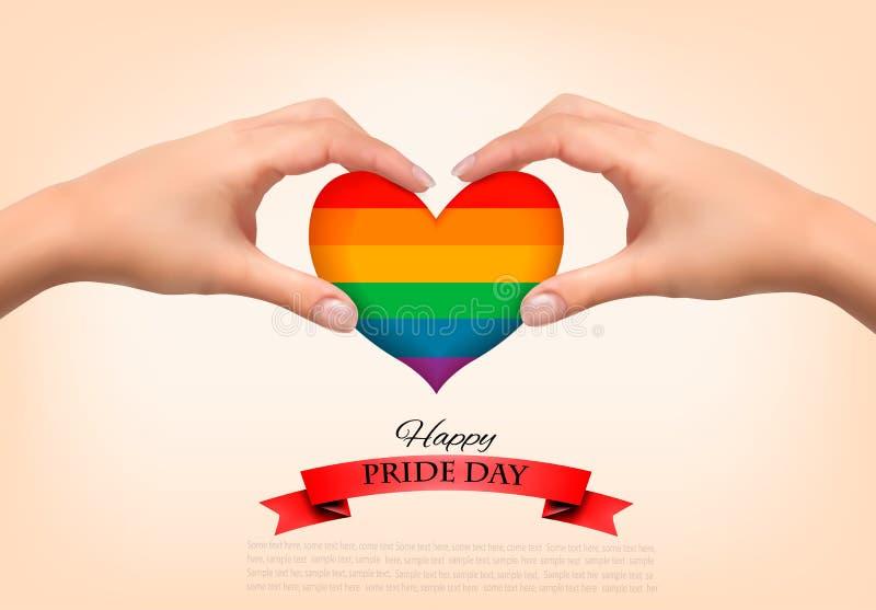 Coração do arco-íris dado forma nas mãos Conceito do orgulho alegre foto de stock