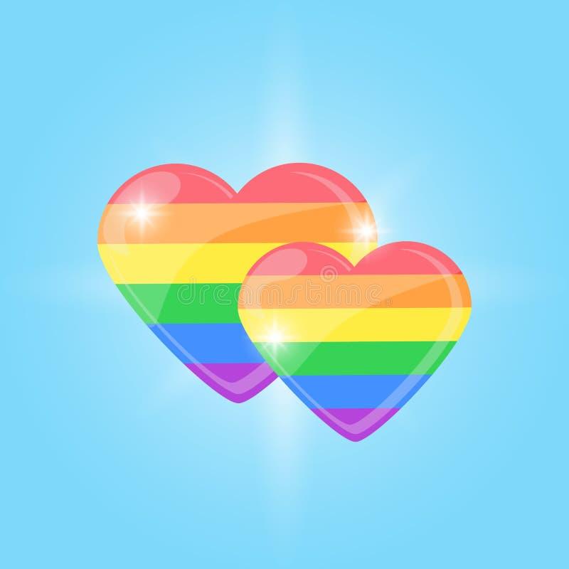 Coração do arco-íris de LGBT  amor do Mesmo-sexo orgulho Ilustração do vetor ilustração royalty free