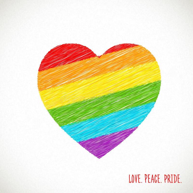 Coração do arco-íris Desenho de lápis do esboço Bandeira de LGBT, cultura do homossexual do símbolo ilustração royalty free