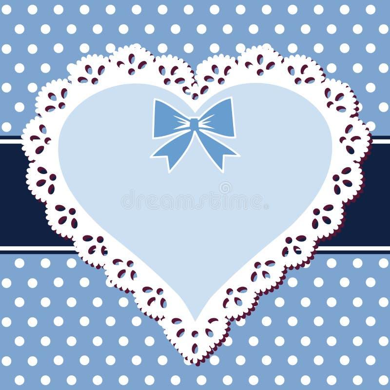 Coração do azul do laço ilustração stock
