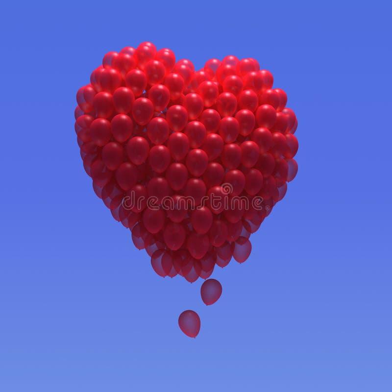 coração do balão 3d ilustração royalty free