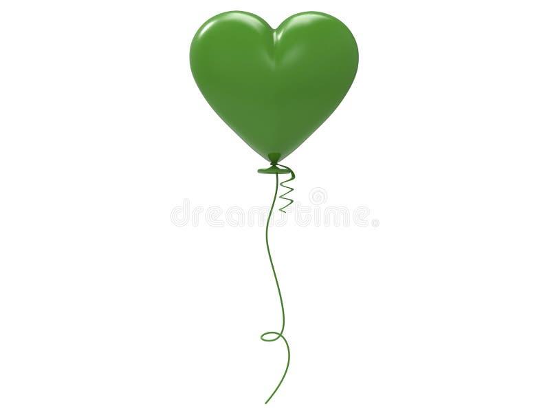 coração do balão do verde da ilustração 3D ilustração stock