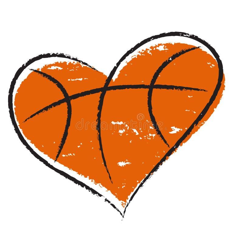 Coração do basquetebol ilustração do vetor