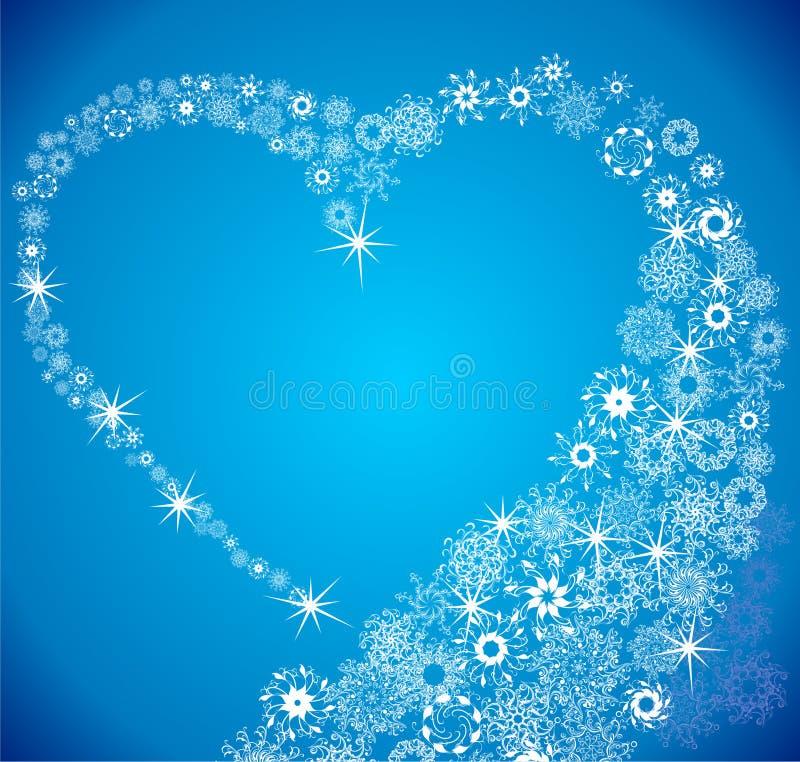 Coração do blizzard do floco de neve ilustração stock