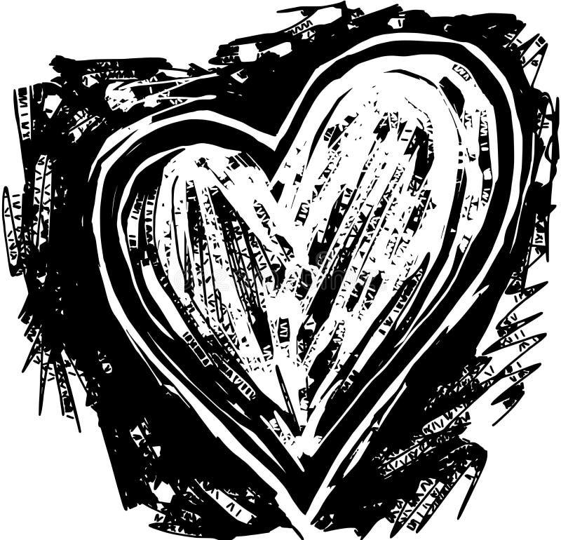 Coração do bloco xilográfico ilustração do vetor
