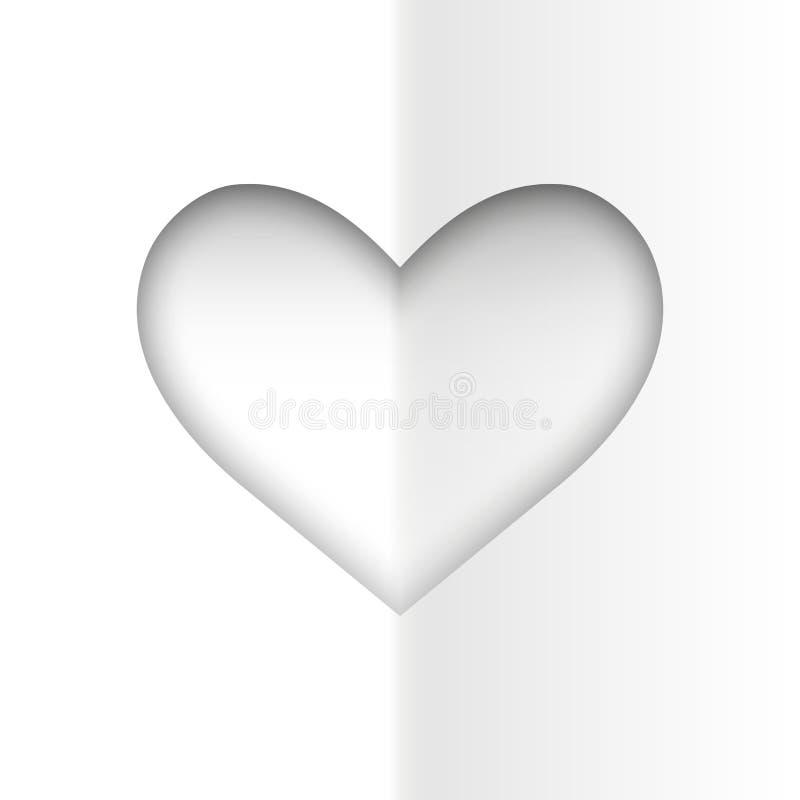 Coração do branco de Minimalistic ilustração royalty free
