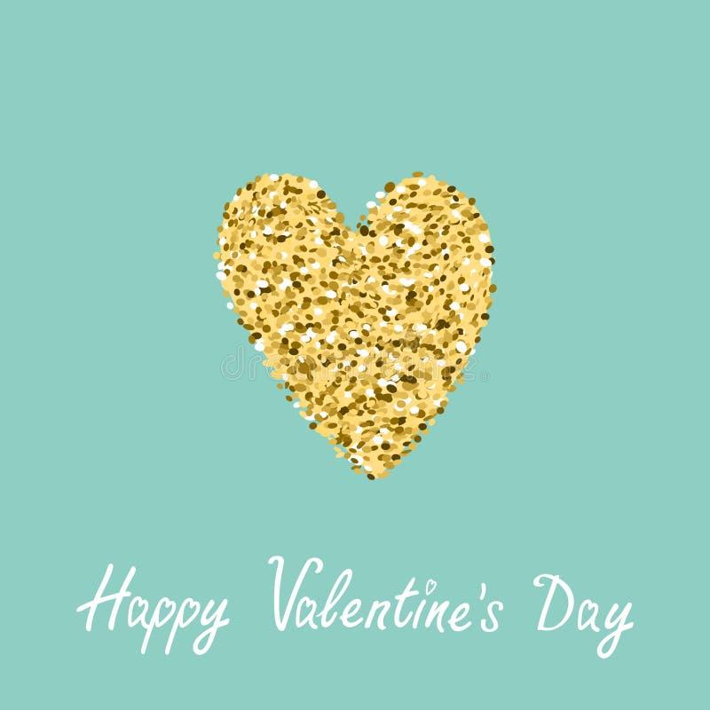 Coração do brilho do ouro Fundo liso do azul do projeto Dia feliz dos Valentim ilustração stock
