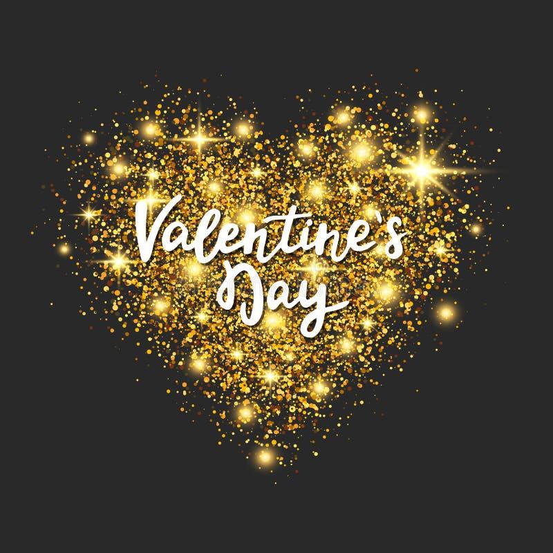 Coração do brilho do ouro no fundo escuro Rotulação da mão do dia de Valentim Poeira de estrela dourada na forma do coração com s ilustração do vetor