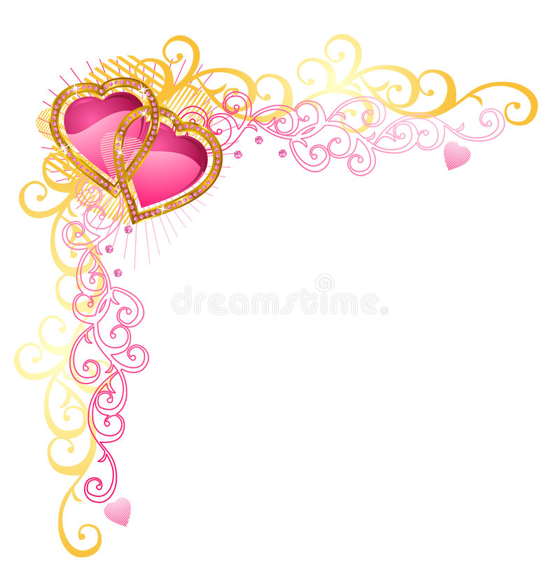 Coração do canto do amor/vetor/dia do Valentim ilustração do vetor
