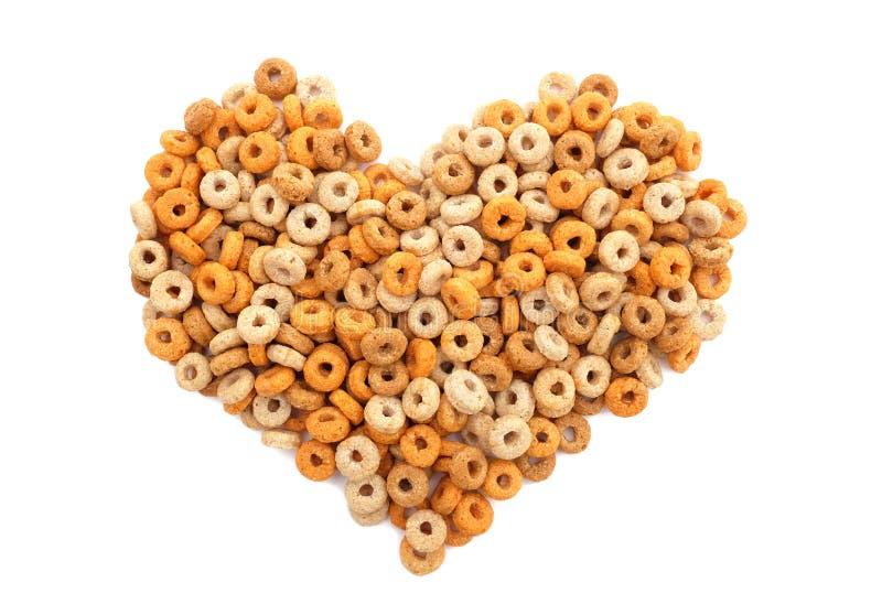 Coração do cereal de café da manhã das aros de Multigrain imagens de stock royalty free