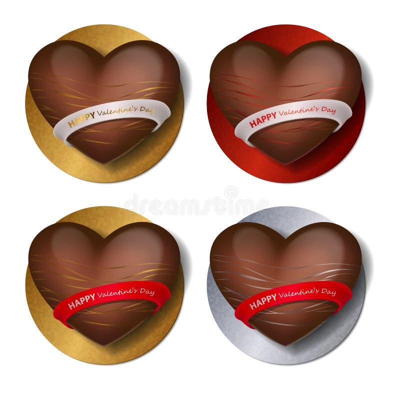 Coração do chocolate com ouro, prata e decoração, tiras e fita vermelhas com rotulação do dia de Valentim feliz no suporte Doces  ilustração royalty free