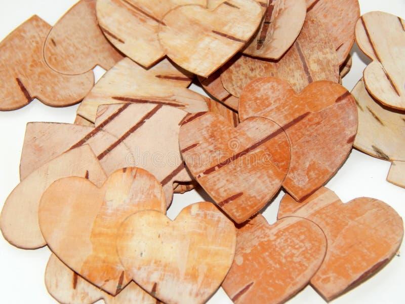 Coração do close up da casca de vidoeiro handmade ilustração stock