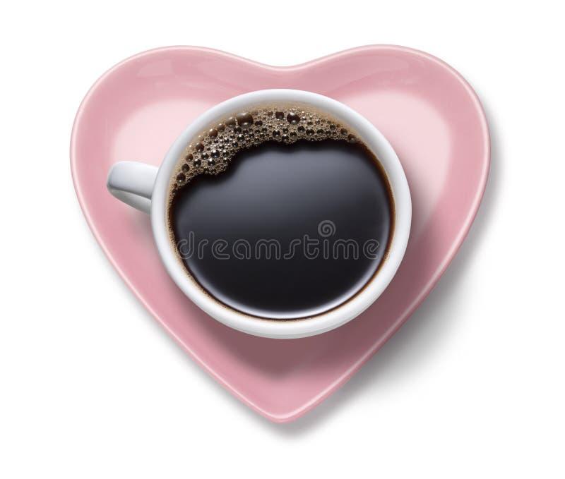 Coração do copo de café do amor imagem de stock royalty free