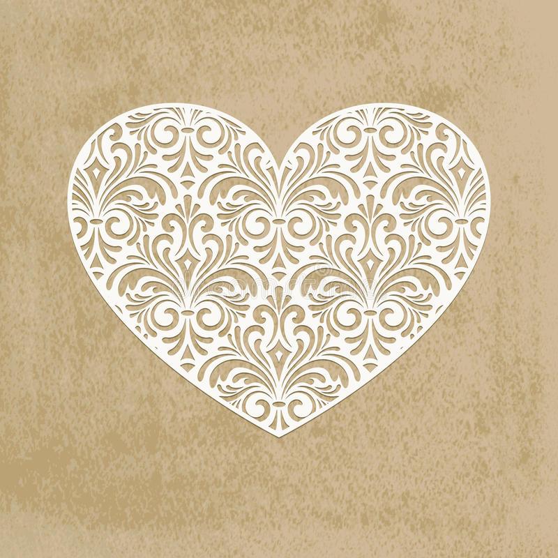 Coração do corte do papel ilustração royalty free