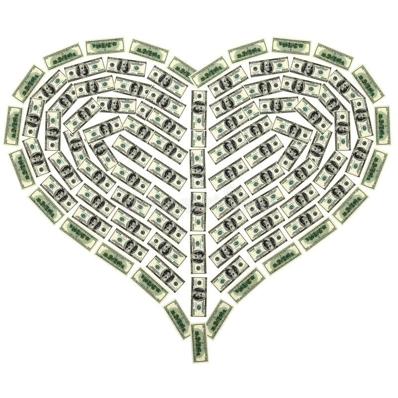 Coração do dólar ilustração stock