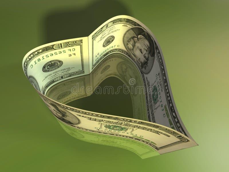 Coração do dólar ilustração royalty free
