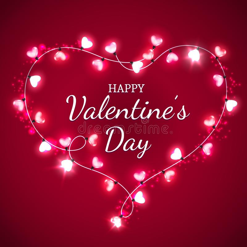 Coração do dia de Valentim com as ampolas vermelhas e cor-de-rosa ilustração stock