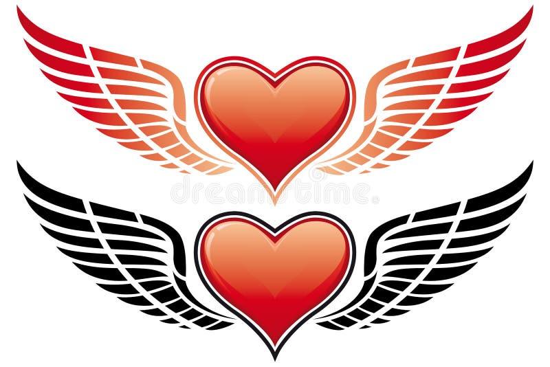 Coração do dia do Valentim com asa ilustração royalty free