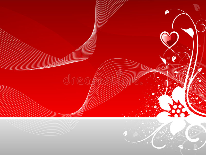 Coração do dia do Valentim floral com ondas abstratas ilustração do vetor