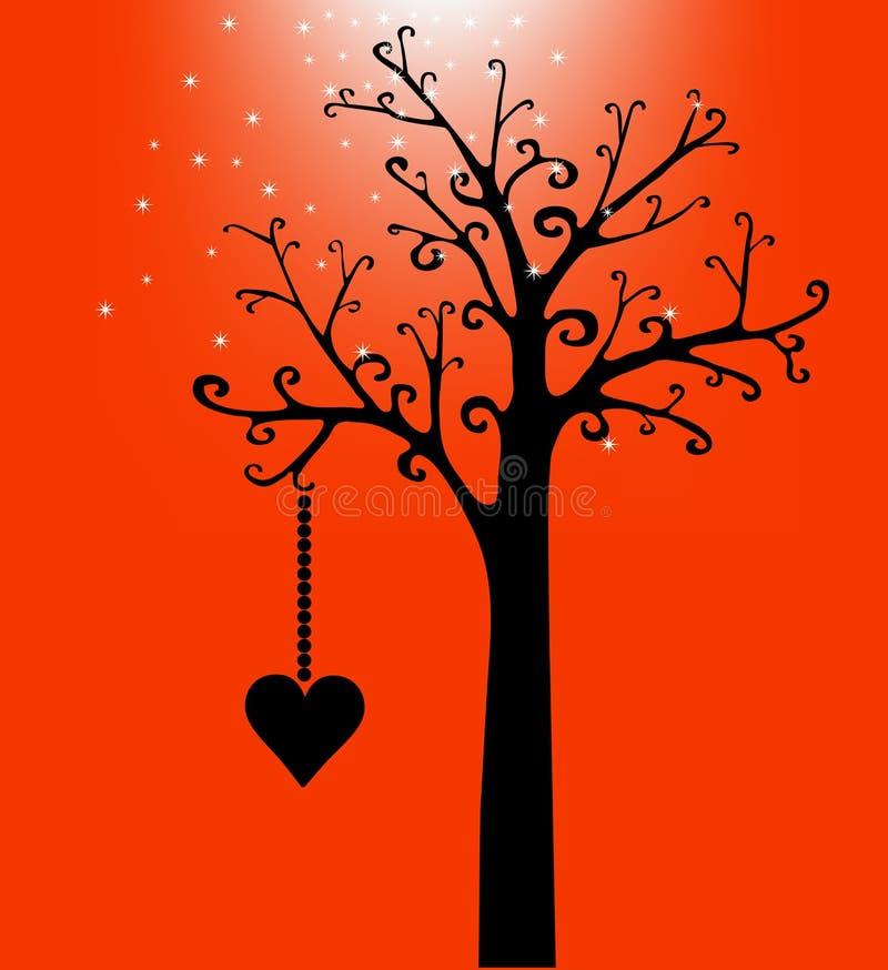 Coração do dia do Valentim na árvore no preto ilustração royalty free
